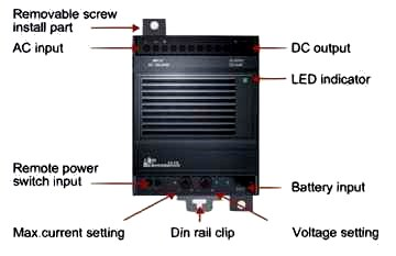 5 Volt battery backup DIN mount power supply, also available in 12 and 24 volts