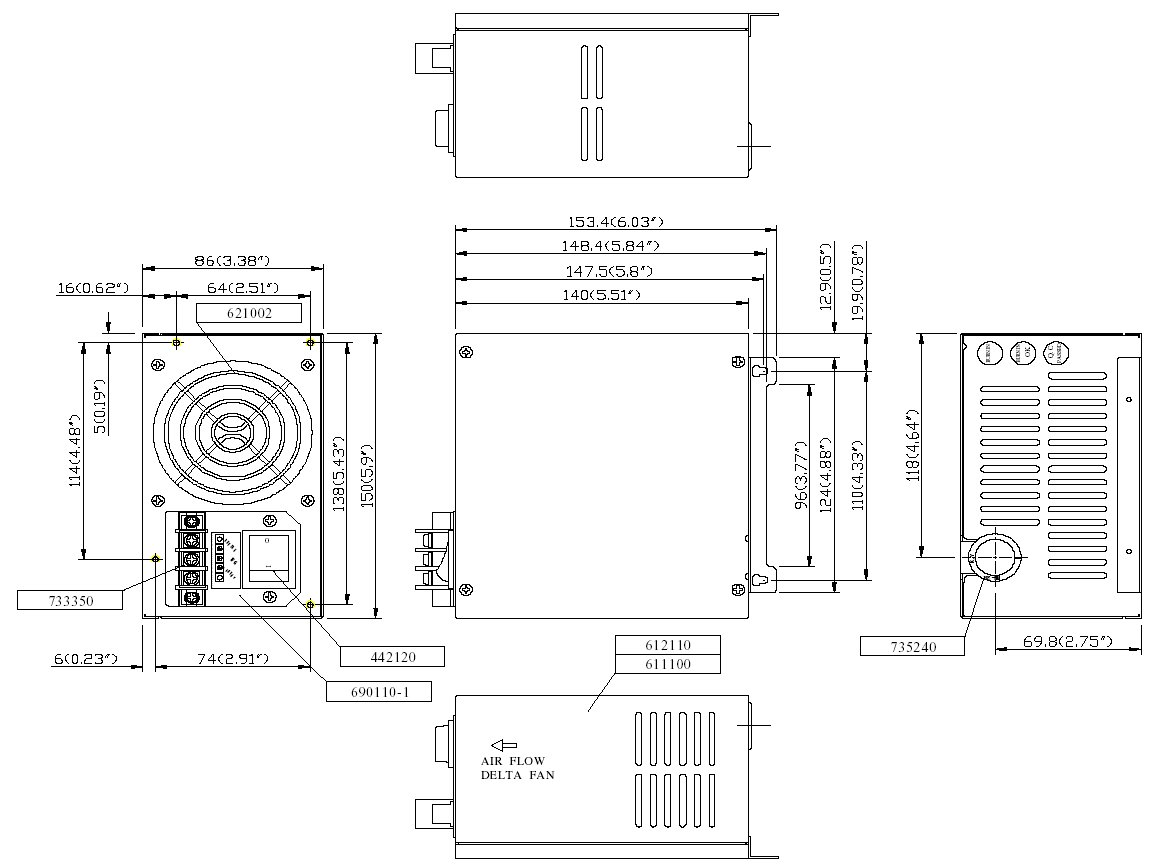 48 Volt Or Dc Input Pc Atx Power Supplies 500 Watt Inverter Circuit Diagram 12 Supply Click Here For Full Dimensions