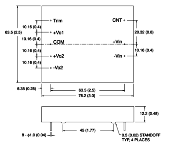 AV30- triple output dc converter drawing