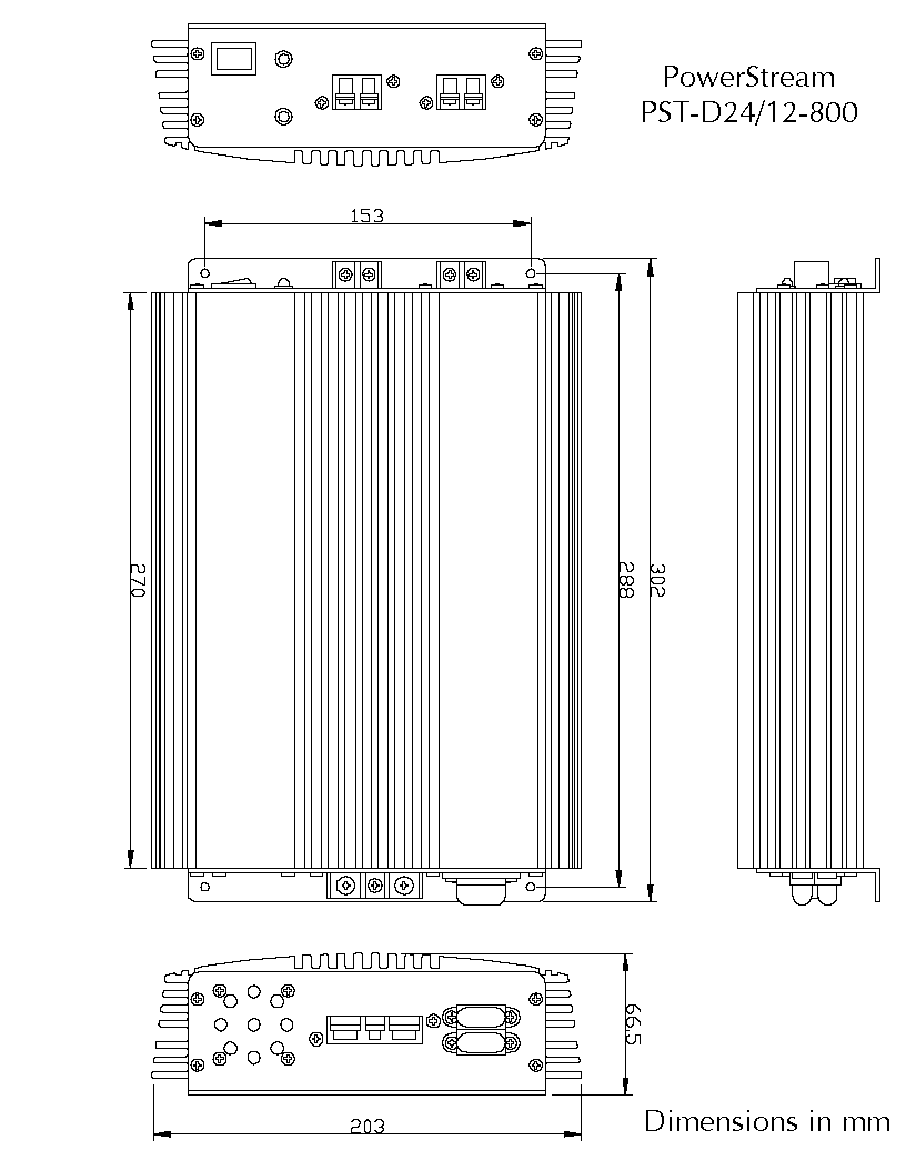 Drawing of the PST-D24/12-800  DC/DC converter