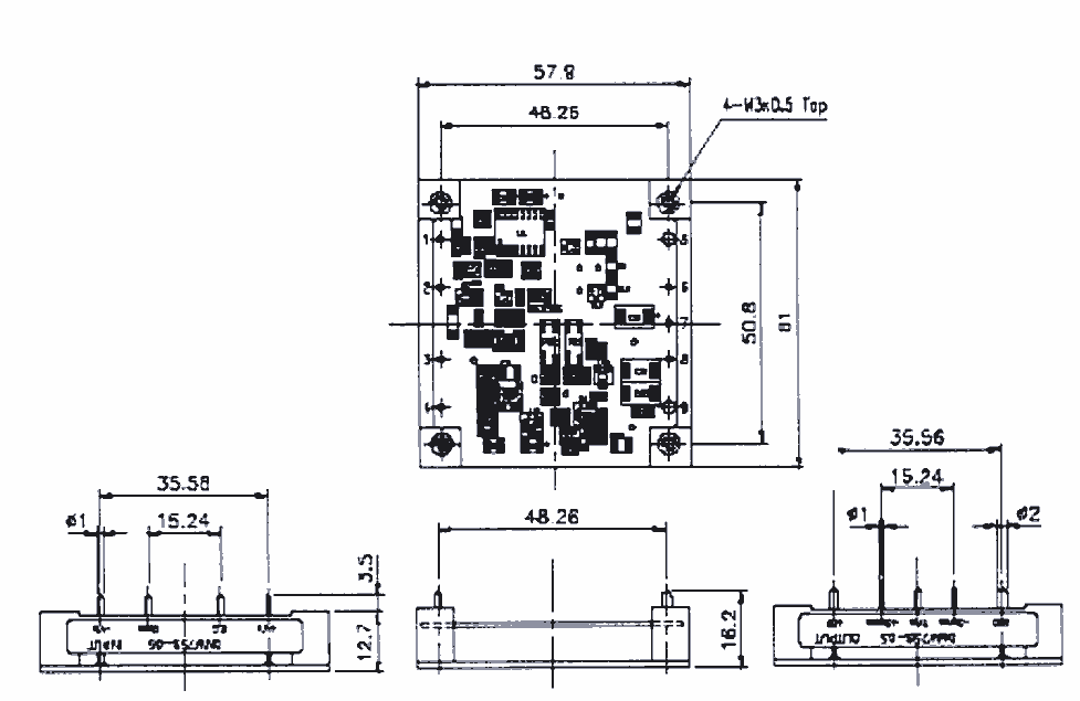 Dimensioned drawing of the DMW75S-05