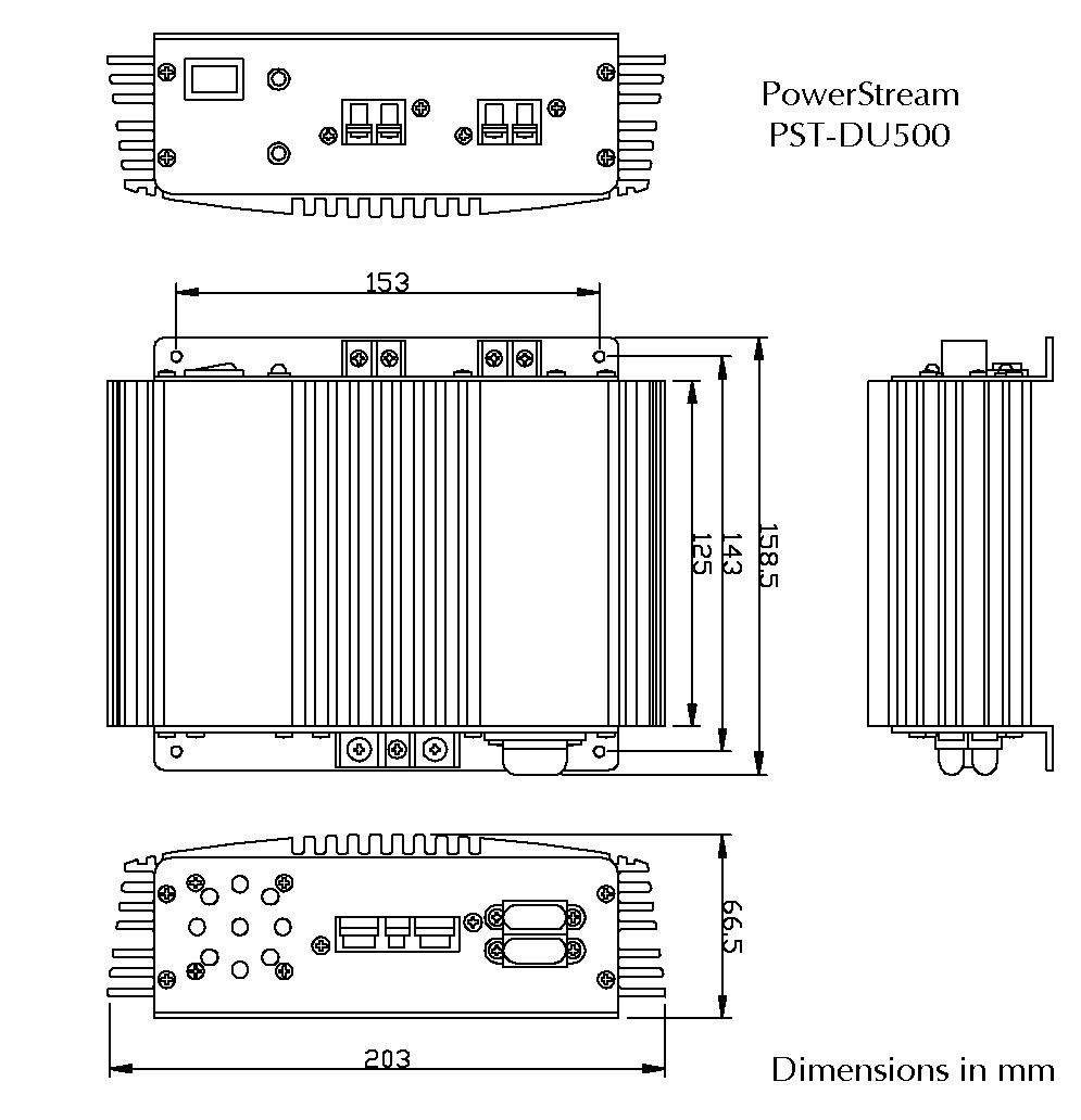 Drawing of the SR500 DC/DC converter