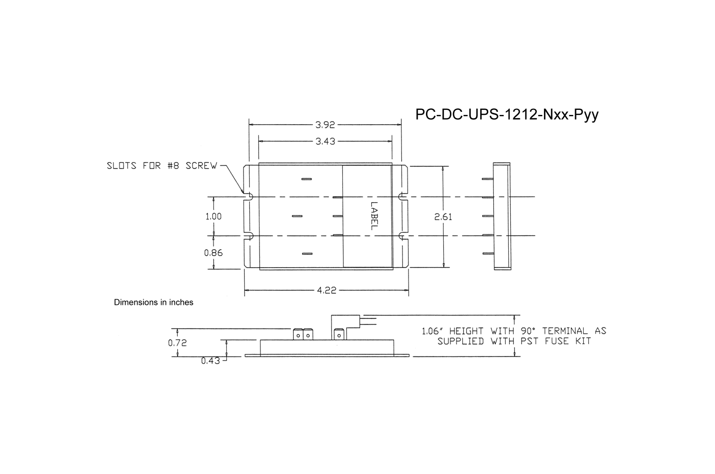 connection to the status connector dimensioned drawing of the pc-dc-ups -1212-nxx-pyy