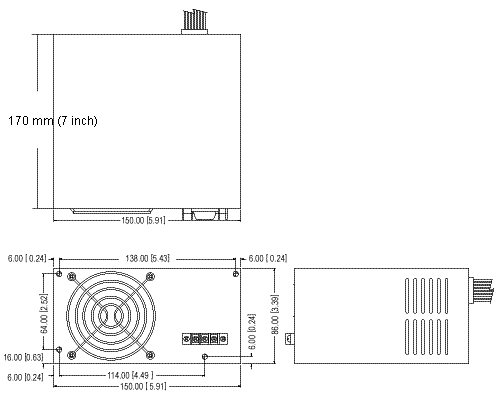 drawing of the 170 mm long ATX