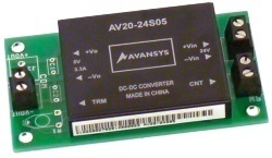 AV20-24S05 24V to 5V 4A DC converter mondule on circuit board with screw terminals