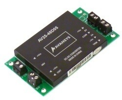 DC brick module with 48V input, +/-12V output including circuit board and connectors