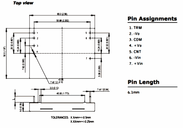 Dimensions and pin out of DC converter module