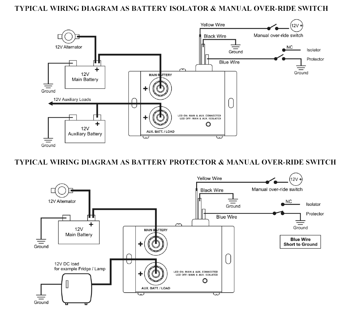 battery isolator connections 12 volt and 24 volt 80 amp dc battery isolator and split charge sure power battery isolator wiring diagram at fashall.co