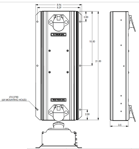 drawing of the UDC2412-BD trailer interface controller