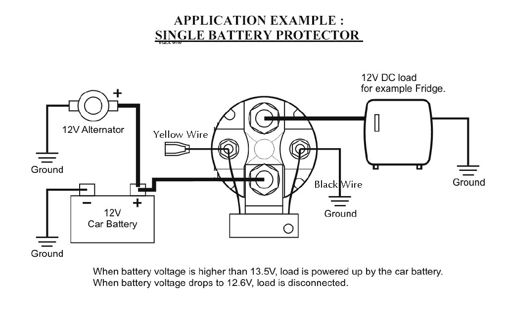 Installation diagram for battery isolator · installation diagram for use as a low-voltage batery cuttout