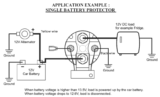 installation diagram for use as a low-voltage batery cuttout