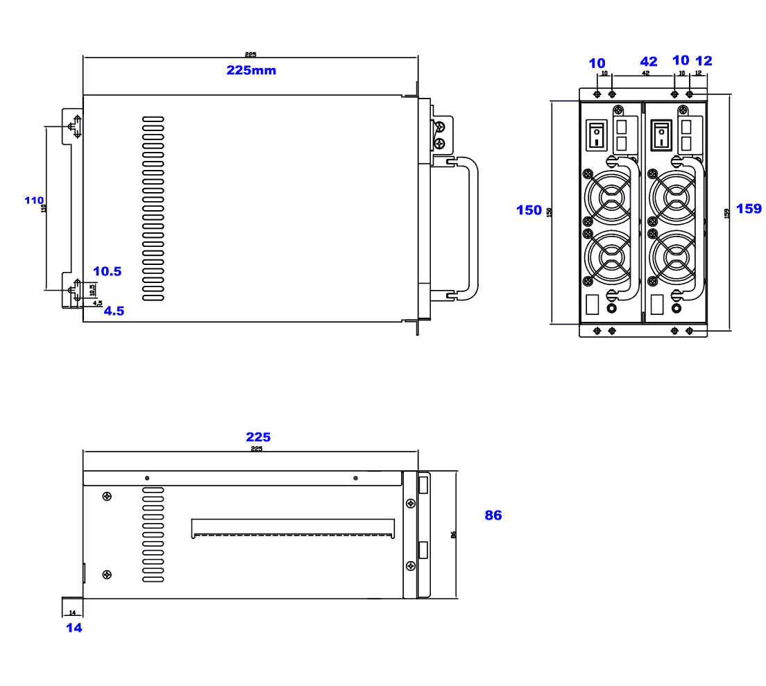 dimensioned drawing of mini-redundant power supply