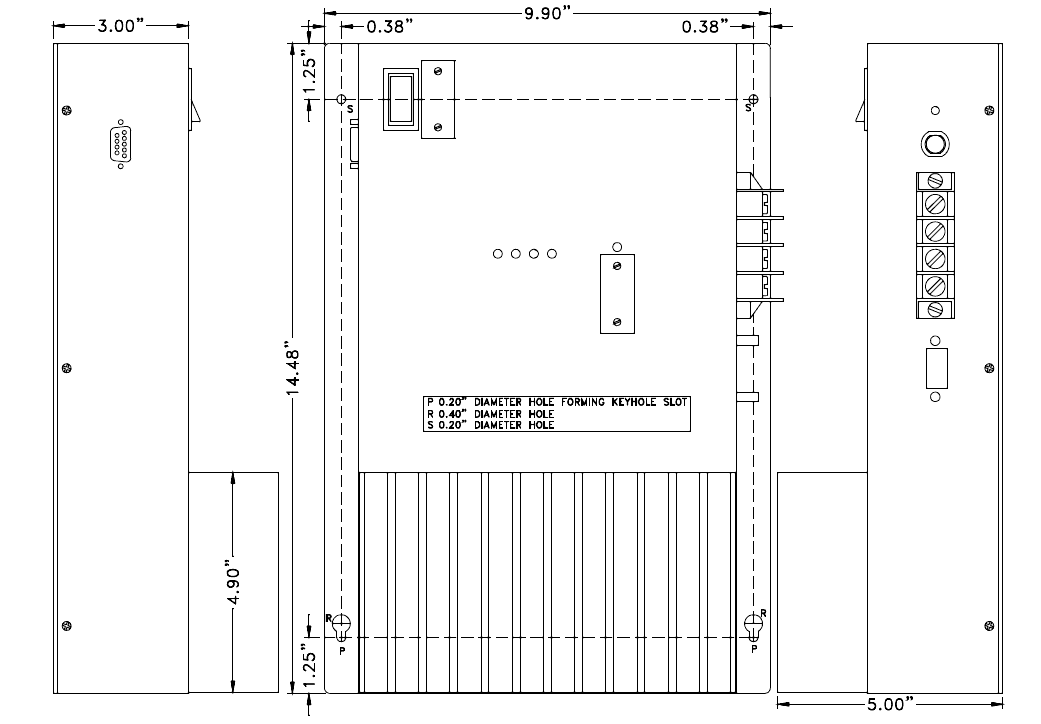 drawing of the PVTC1015 showing dimensions