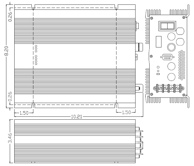 drawing of the 24 to 48 volt isolated DC/DC Converter